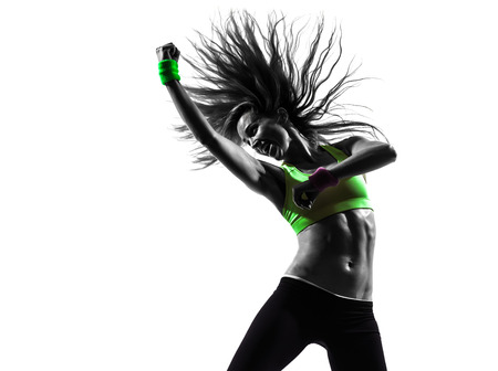 Photo pour one caucasian woman exercising fitness zumba dancing in silhouette on white background - image libre de droit