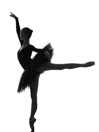 Photo pour one caucasian young woman ballerina ballet dancer dancing with tutu in silhouette studio on white background - image libre de droit