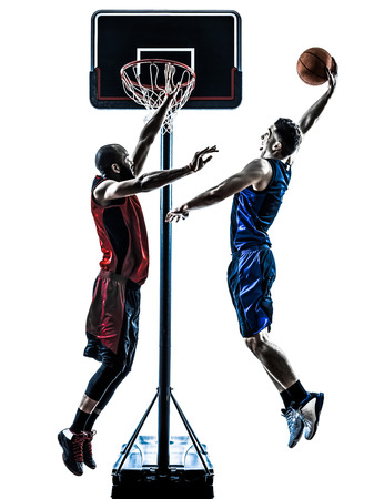 Photo for two men caucasian and african basketball players competition jumping dunking in silhouette isolated white background - Royalty Free Image