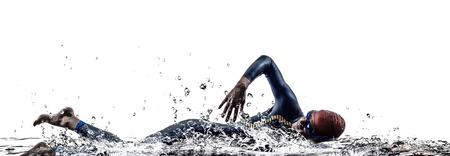 Photo for man triathlon iron man athlete swimmers swimming in silhouettes on white background - Royalty Free Image