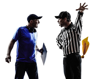 Photo pour american football referee and coach conflict dispute conflict dispute in silhouettes on white  - image libre de droit