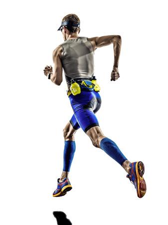 Photo pour man triathlon iron man athlete runners running in silhouettes on white  - image libre de droit