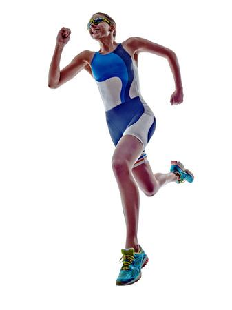 Photo for woman triathlon ironman athlete runner running  on white background - Royalty Free Image