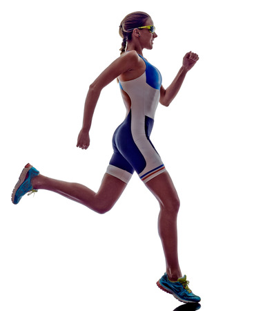 Photo pour woman triathlon ironman athlete runner running  on white background - image libre de droit