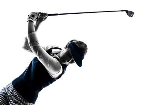 Photo for woman golfer golfing silhouette in white background - Royalty Free Image