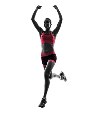 Photo pour one  woman runner running jogger jogging in silhouette on white background - image libre de droit