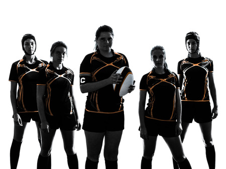 Photo for rugby women players team in silhouette isolated on white backround - Royalty Free Image