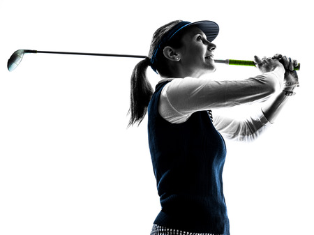 Photo pour woman golfer golfing silhouette in white background - image libre de droit