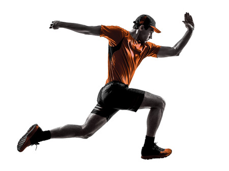 Photo pour one young man runner jogger running jogging jumping in silhouette isolated on white background - image libre de droit