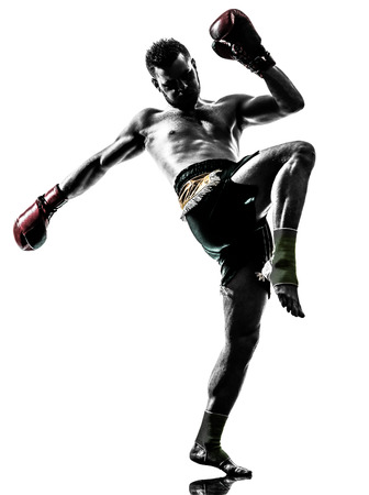Photo for one  man exercising thai boxing in silhouette studio on white background - Royalty Free Image