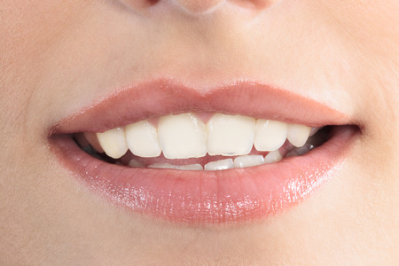 Photo for close up of beautiful mouth lips teeth smile smiling  woman - Royalty Free Image