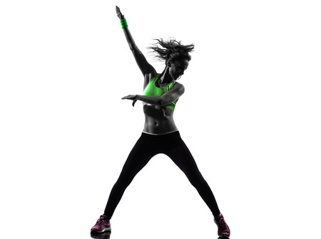 Photo for one african man exercising fitness zumba dancing in silhouette on white background - Royalty Free Image