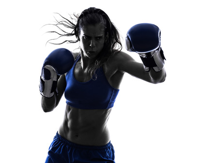 Photo for one woman boxer boxing kickboxing in silhouette isolated on white background - Royalty Free Image