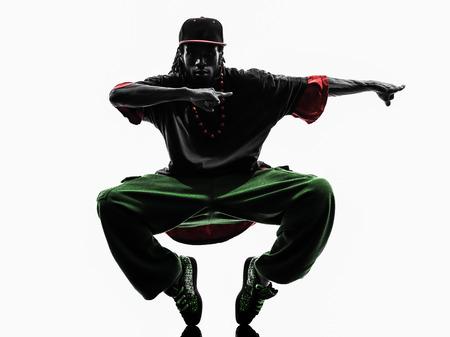 Photo pour one hip hop acrobatic break dancer breakdancing young man silhouette white background - image libre de droit