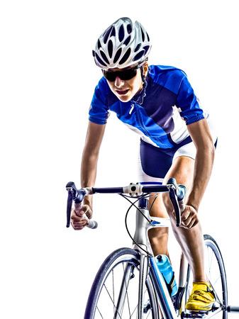 Foto de woman triathlon ironman athlete  cyclist cycling on white background - Imagen libre de derechos