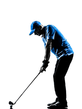 Photo pour one man golfer golfing golf swing in silhouette studio isolated on white background - image libre de droit