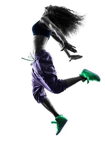 Foto de one african woman woman dancer dancing exercises  in studio silhouette isolated on white background - Imagen libre de derechos