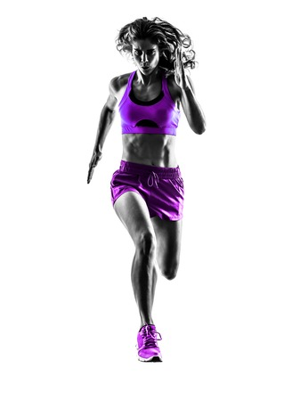 Photo for one caucasian woman runner running jogger jogging  in studio silhouette isolated on white background - Royalty Free Image