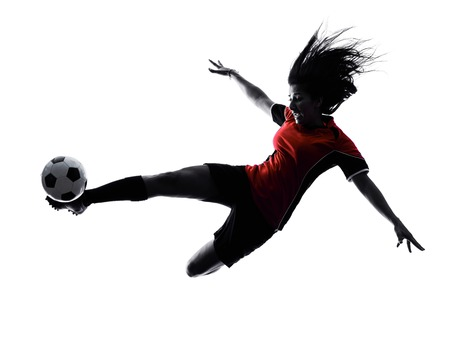 Photo for one woman playing soccer player in silhouette isolated on white background - Royalty Free Image