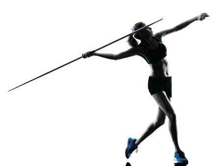 Photo for one  caucasian woman Javelin thrower in silhouette isolated white background - Royalty Free Image