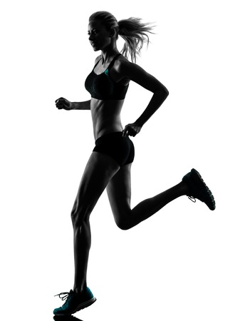 Photo pour one caucasian woman runner running jogger jogging  in studio silhouette isolated on white background - image libre de droit