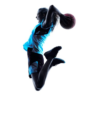 Foto per one  caucasian woman basketball player dribbling in silhouette isolated white background - Immagine Royalty Free