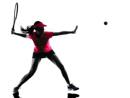 Foto de one woman tennis player in studio silhouette isolated on white background - Imagen libre de derechos