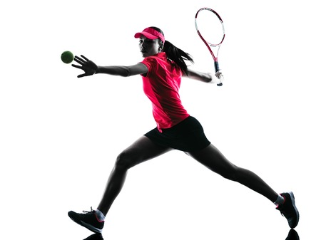 Photo for one woman tennis player sadness in studio silhouette isolated on white background - Royalty Free Image