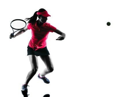 Foto de one woman tennis player sadness in studio silhouette isolated on white background - Imagen libre de derechos