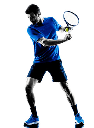 Photo for one caucasian man playing tennis player in studio silhouette isolated on white background - Royalty Free Image