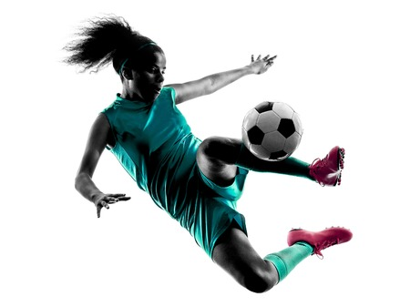 Photo pour one teenager girl child  playing soccer player in silhouette isolated on white background - image libre de droit