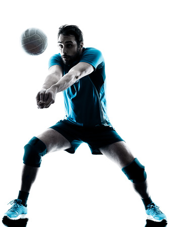one caucasian man volleyball in studio silhouette isolated on white background