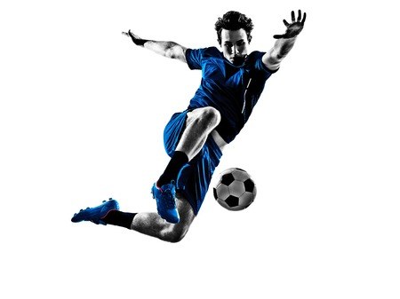Photo pour One Italian Soccer Player Man Playing Football Jumping In Silhouette White Background - image libre de droit