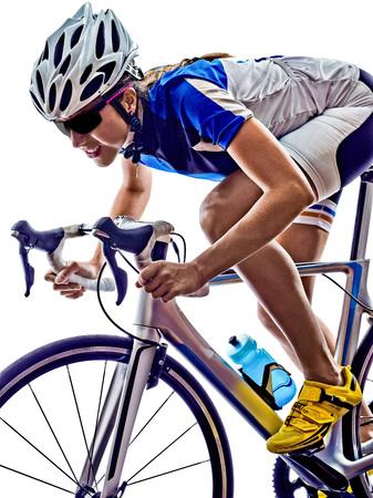 Foto de woman triathlon athlete  cyclist cycling on white background - Imagen libre de derechos