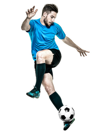 Photo pour one caucasian Soccer player Man isolated on white backgound - image libre de droit