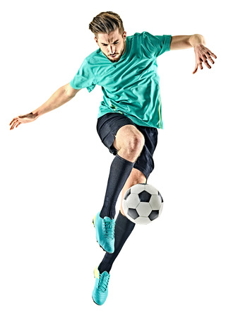 Photo for one caucasian soccer player man isolated on white background - Royalty Free Image