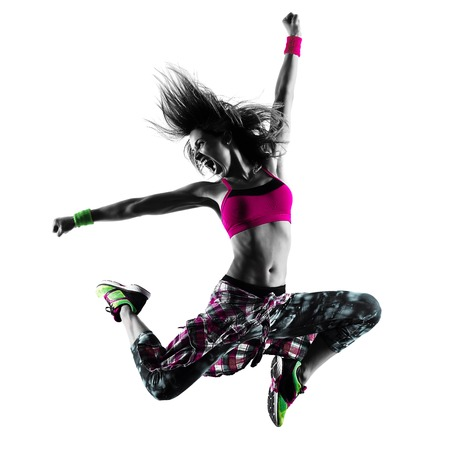 Photo for one caucasian woman zumba fitness exercises dancer dancing isolated in silhouette on white background - Royalty Free Image