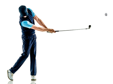 Photo for one caucasian man golfer golfing in studio isolated on white background - Royalty Free Image