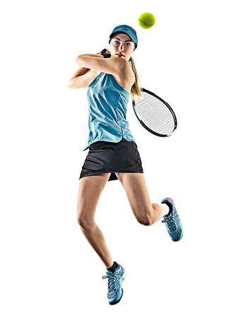 Photo for one young caucasian tennis woman isolated in silhouette on white background - Royalty Free Image