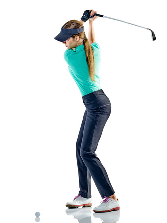 Photo for one caucasian woman woman golfer golfing in studio isolated on white background - Royalty Free Image