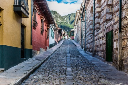 Foto de colorful Streets  in La Candelaria aera Bogota capital city of Colombia South America - Imagen libre de derechos