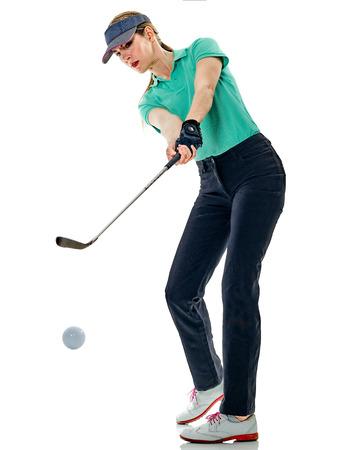 Foto de one caucasian woman woman golfer golfing in studio isolated on white background - Imagen libre de derechos