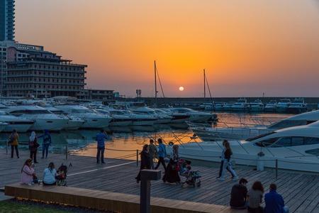 Foto de Zaitunay Bay marina in Beirut capital city of Lebanon Middle east - Imagen libre de derechos