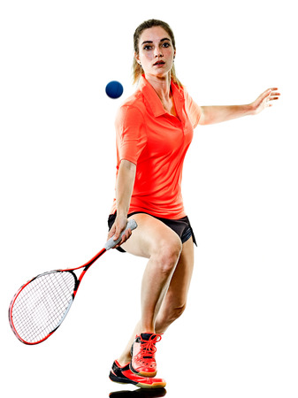 Foto de one caucasian young teenager girl woman playing Squash player isolated on white background - Imagen libre de derechos