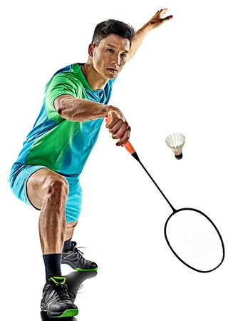Photo for one asian badminton player man isolated on white background - Royalty Free Image