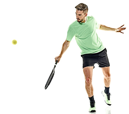 Photo for one caucasian  man playing tennis player isolated on white background - Royalty Free Image