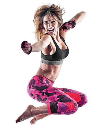 Photo pour one caucasian woman exercising fitness boxing pilates piloxing excercises in studio isolated on white background - image libre de droit