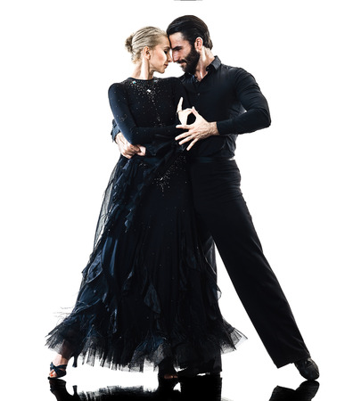 Photo pour one caucasian man and woman couple ballroom tango salsa dancer dancing in studio silhouette isolated on white background - image libre de droit