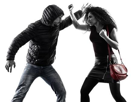 Photo pour Caucasian woman victim of a thief aggression self defense isolated on white background - image libre de droit