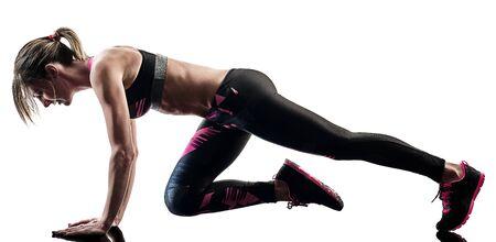Photo pour one caucasian woman exercising pilates fitness exercises isolated  silhouette on white background - image libre de droit